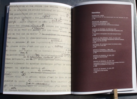 Transcripts of Le Corbusier's notes